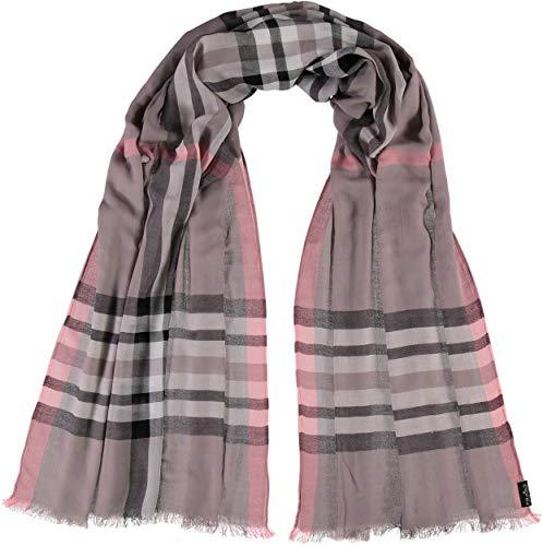FRAAS XXL-Schal mit Karo-Muster für Damen - aus 100% Viskose - elegantes Mode-Accessoire passend zu jedem Fashion-Stil Taupe -