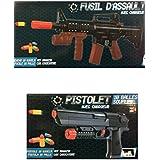 1 Pistolet + 1 Fusil lance balles souples en mousse (longueur 24 et 48 cm) - 20 munitions incluses