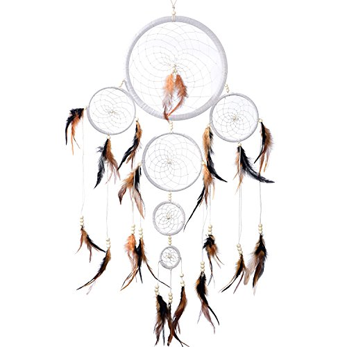 Atrapasueños Dreamcatcher grande XXL para sueños buenos con perlas y plumas naturales Blanco - Ø 28 cm
