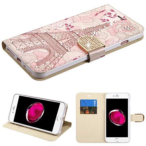 Schutzhülle + Tempered_Glas + Eingabestift, PU-Leder passend für Apple iPhone 7 Plus/8 Plus (auch passend für 6 Plus/6S Plus) Diamant Brieftasche Eiffelturm mit Strasssteinen Crystal Faceplates