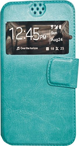 BKDT Marketing Leather finish Flip Cover Case Stand Diary Style for Karbonn A111 with Dislay Window and Stand - Light Blue  available at amazon for Rs.234