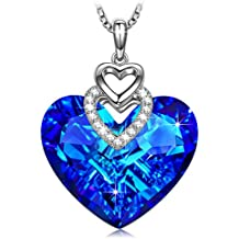 """SIVERY """"Heart of Ocean"""" Pendant Necklace with Sapphire Swarovski Crystal, Jewellery for Women"""