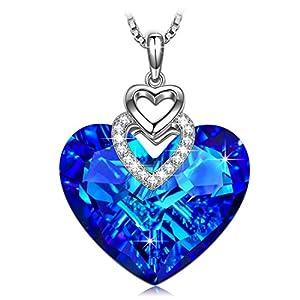 'Herz des Ozeans' Halskette Damen mit Blau Herz Swarovski elemente, Schmuck Damen, Geburtstagsgeschenk, Kette Damen, Geschenke für Frauen, Kette Herz
