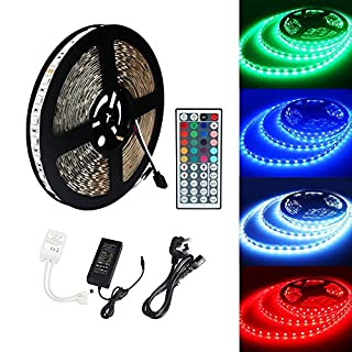 ALED LIGHT 10M 5050 RGB 600Led Color Changing Led Strips with 44 key IR Remote+24V 6A AC UK Plug Adapter Power Supply for Home lighting and Kitchen Decorative