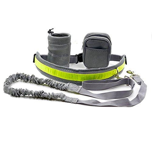Cadrim Hunde Joggingleine mit verstellbarem Hüftgurt,elastische Bungee Leine zum handfreien Laufen/Fahrrad fahren,zusätzliche Tasche für Handy und Schlüssel etc. super zum Laufen, Joggen, Wandern und Markteinkauf,Schwarz/Weiß (Grau) - 2