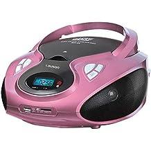 Lauson CP438 - Radio CD Portátil, USB, Radio FM/AM, Lector de tarjetas SD, Rosa