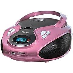 Idea Regalo - Lauson CP438, Lettore CD Portatile USB Radio AM / FM Mp3 USB SD-Card Boombox Music System, AUX IN CD-Radio, Rosa