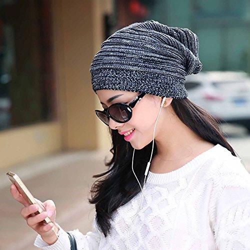 GGG New Oversized Plicate Baggy Beanie Hat Fashion Winter Warm Unisex Outdoor Cap -Black