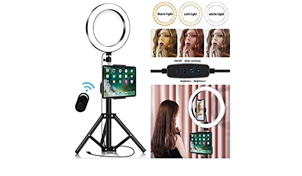 DLMPT Selfie LED Ring Light with Bluetooth Controller Dimmable 5500-3200K Ringlight Make Up Light USB Charging Interface Ring Make Up Light for YouTube Vlog Makeup Video Shooting,50cm