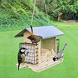 Rziioo Alimentatore per casa per Uccelli all'aperto - Resistente alle intemperie - 4 Fori di Alimentazione - Giardino, Cortile e Patio,E
