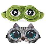 Schlafmaske 3D Herren Frauen Kinder Damen Frosch Katze Hund Muster Katzenmaske Interessant Schlafmaske Lustig