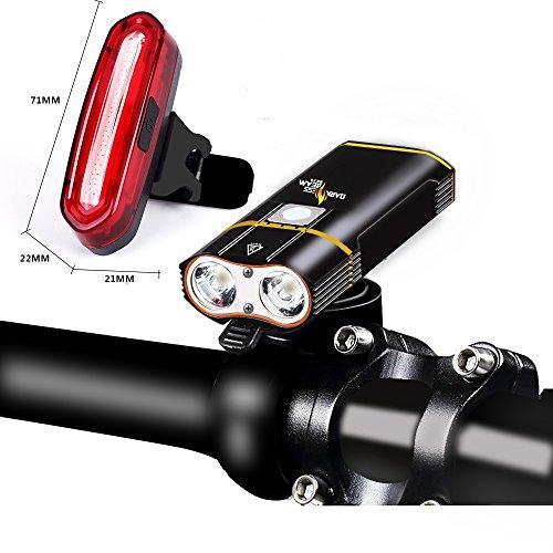 LED Fahrradbeleuchtung,PSNY Fahrradlicht 2*CREE XM-L2 5200 mAh akku,2400 Lumen,Wiederaufladbare USB Fahrrad Scheinwerfer mit 120 Lumen Rücklicht,Tragbare Wasserdicht Fahrradlampe Front Rücklicht Set
