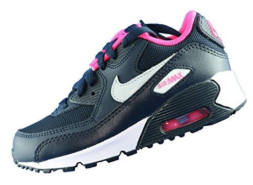 Nike - Air Max 90 Mesh (PS), Scarpe sportive Bambina Nero / argento / rosa / bianco (Obsdn / Pr Pltnm-Hypr Pnk-White)