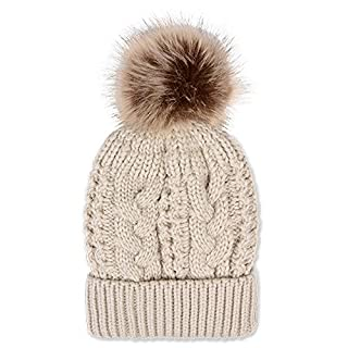 AsentechUK® Winter Acrylic Wool Thick Knitted Hat Warm Thread Unisex Casual Solid Beanies Hat (Beige)