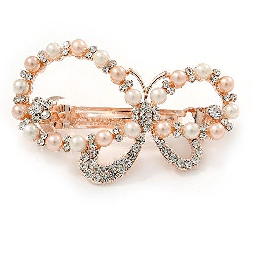 Brautschmuck Hochzeit Ball Rose Gold Ton Simuliert Pearl mit 'Asymmetrischer Schmetterling' Haarspange Hair Clip Grip-55mm über