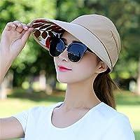 JYJSYM Hembra Hembra Protector Solar Anti - UV sombrilla Sombrero de Verano Verano Mujer Casco, Protector Solar, Anti - UV, Folding Playa Actividades al Aire Libre, Sombrero para el Sol,Brown 1 B