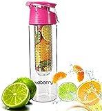SecretRain 800ml Pink Fruit Infusing Water Bottle with Fruit Infuser and Flip Lid Lemon Juice Make Bottle- BPA Free (800ML)