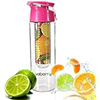 Voberry 800ml Transparent Sport Gourde Bouteille Infusion Jus Fruit d'Eau Sans BPA- Rose