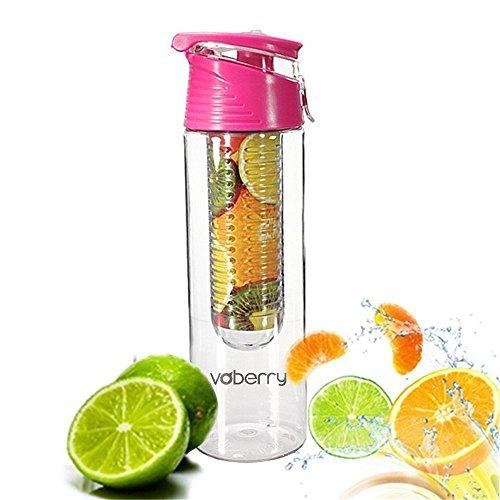 SecretRain 800 ml, Pink Obst-Infusion Spray-Flasche, mit Flip-Deckel-Obst Ei und Zitronensaft Machen, BPA-frei, Rose, 800 ml