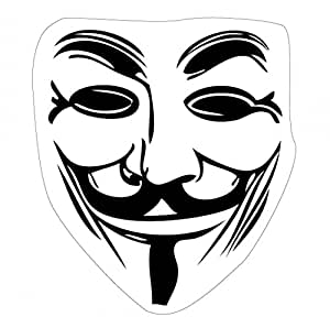 V Pour Vendetta Poster-Sticker Autocollant - Masque Guy Fawkes (9 x 9 cm)