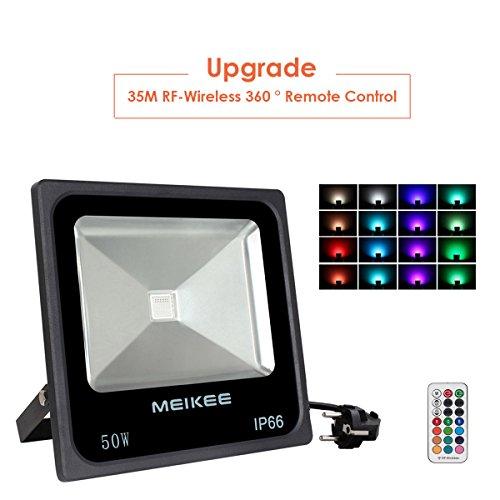 MEIKEE 50W Proyector led RGB en 16 opciones, 4 tipos de modos, Foco led exterior rgb con control remoto IP66, El día lluvioso también es adecuado para Navidad, bodas y otras decoraciones festivas