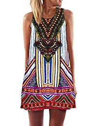 ZARLLE Vestidos mujer,Vintage Boho Women Summer Sleeveless Beach Printed Short Mini Dress sin mangas