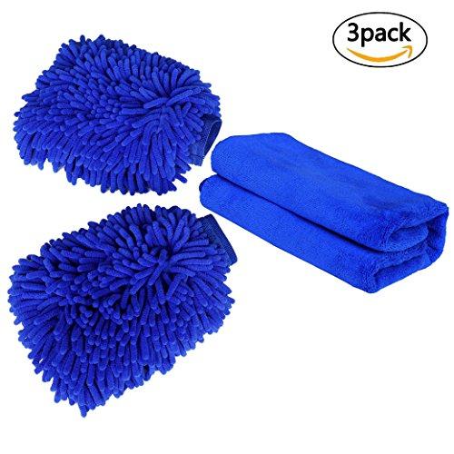Guanto microfibra,set guanti e panno di lavaggio doppio lato spugne per cura auto e moto 3 pack