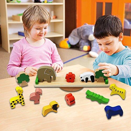 Imagen para Lewo De madera Animales Apilado Bloques Equilibrio Juegos Montessori Juguete para niños pequeños