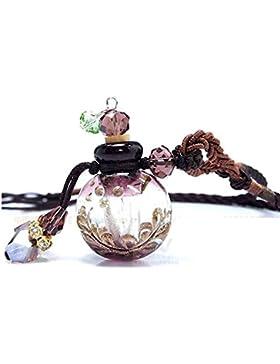 UPmall® Halskette, Aromatherapie, ätherisches Öl, Diffusor, Glas Anhänger mit Natur-Kork, verstellbar, Geschenk-Paket
