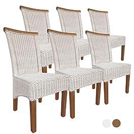 casamia Perth Lot de 6 chaises de salle à manger en rotin Blanc Coussin d'assise en lin Sans coussin