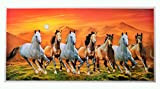 #9: Bm Traders Textured Art Work Vatsu Sunrise with 7 horses Unframed Poster (20 X 40 Inches)
