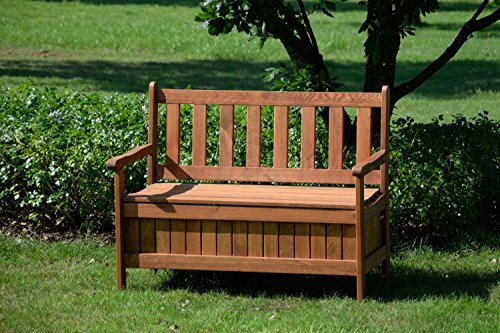 dobar Gartenbank Massive mit Lehne 2-Sitzer aus FSC Holz, 115 x 58 x 89 cm, braun - 9