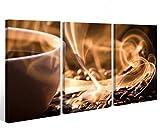 Leinwand 3 tlg. Kaffee Küche Bohnen Cafe Tasse Bilder Wandbild aufgespannt 9A546 Holz-fertig gerahmt -direkt Hersteller, 3 tlg BxH:90x60cm (3Stk 30x 60cm)