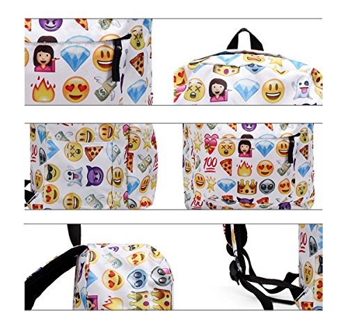 51jhXKIZEPL - KING DO WAY Emoji School Bag Backpack Canvas Laptop for Boys Girls Student Travel Books Shoulder Bag