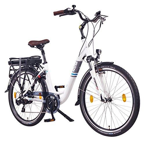 NCM Munich 26″ Zoll Elektrofahrrad Herren/Damen Unisex Pedelec,E-Bike,City-Bike Rad, 36V 250W 14Ah Lithium-Ionen-Akku mit PANASONIC Zellen, matt weiß