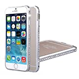 Roar iPhone 6, 6S Plus (5.5) Glitzer Hülle, Glitter Case, Bling Bling Handy Rahmen mit Steinchen, Luxus Glitzerhülle für Apple iPhone 6, 6S Plus (5.5), Silber