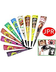 10x JPR Golecha Temporary Tatoo - Multifarben Kegel für Hautdekoration (250g) 10 Farben + SRK Postkarte