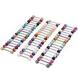 SODIAL(R)100 Stueck Kugel Zunge Ring Zungenpiercing Koerper Piercing - Multifarben
