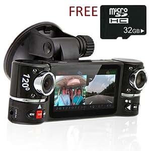 Indigi® Rotation Double Appareil photo Objectif voiture DVR w/6,9cm Split Écran LCD + vision de nuit + Mouvement activer