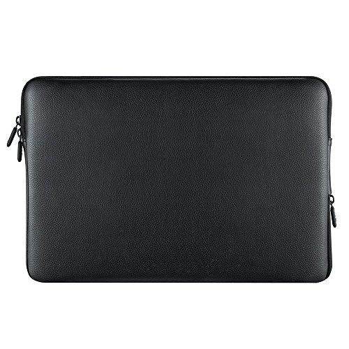 PLEMO Wasserdichte Laptophülle Tasche mit PVC-Leder für 13-13,3 Zoll Notebook / Macbook Air / MacBook Pro, Schwarz