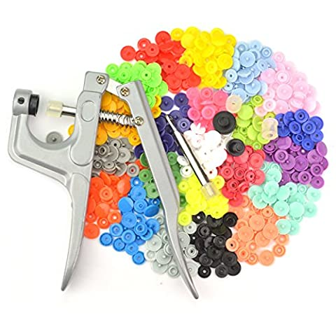 350 sets Snap Buttons with Buttons Plier, SUMERSHA Poppers 25 color Plier Studs T5 Snap Size 20 Plastic Fasteners for Baby clothes Cloth Diaper Bib Raincoat(T5 buttons + Pliers set)
