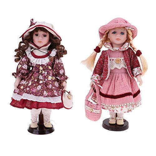 FLAMEER 2 Stücke 30 cm Schöne Porzellan Mädchen Puppe Viktorianischen In Kleid \u0026 Handtasche Kinder Geschenke