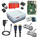 V-Kits Raspberry Pi 3 Modell B+ (Plus) Retro Arcade Gaming Kit mit 2 klassischen USB-Gamepads (UK Power Edition)