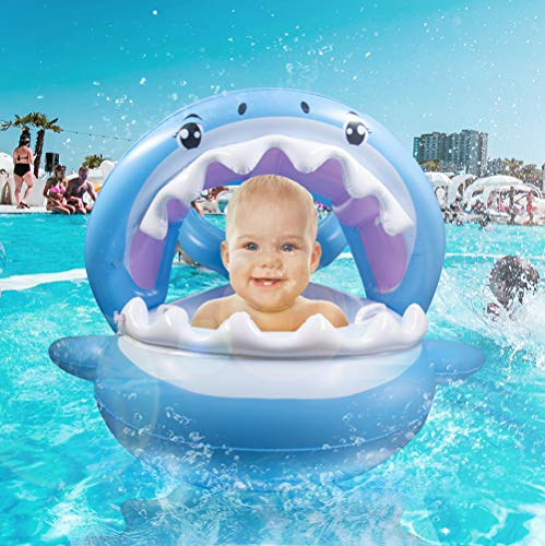 Aufblasbarer Hai für den Pool | Schwimmring für Babies/Kinder 6-36 Monate bis 35 kg | Abnehmbares Sonnendach | Süße Schwimminsel mit Glocken & Griffen für mehr Sicherheit