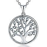 JO WISDOM Halskette Baum Des Lebens,kette anhaenger silber 925 baum des lebens Anhänger Halskette,Damen Schmuck,kette: 45-50CM (Silber,Zirkonia)