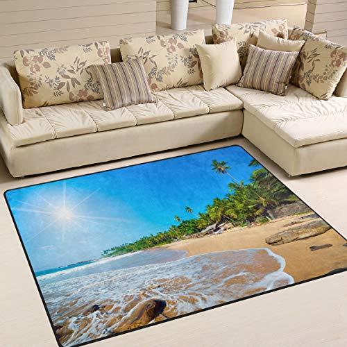 Use7 Teppich, Tropische Palme, Ozean, Strand, Blauer Himmel, Landschaft, Naturteppich für Wohnzimmer Schlafzimmer, Textil, Multi, 203cm x 147.3cm(7 x 5 feet) -