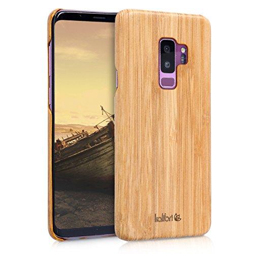 kalibri-Holz-Case-Hlle-fr-Samsung-Galaxy-S9-Plus-Handy-Cover-Schutzhlle-aus-Echt-Holz-und-Kunststoff-Mix-Bambusholz-in-Hellbraun