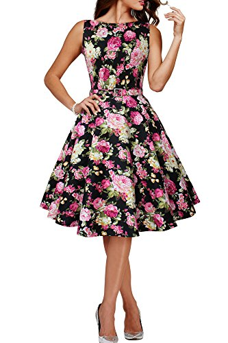 BlackButterfly 'Audrey' Vintage Divinity Kleid im 50er-Jahre-Stil (Schwarz, EUR 38 - S) (Im Röcke Der Jahre 50er Stil)