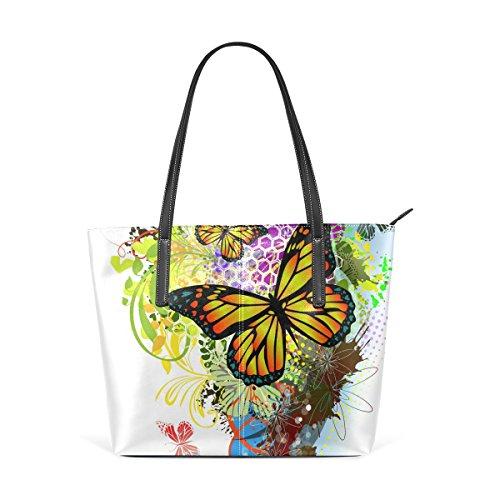 Butterflies Portemonnaie PU Leder Schulter Tote-Tasche für Damen Mädchen Damen -