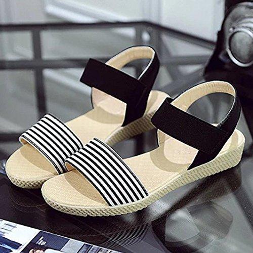 Koly_Scarpe Donna banda di estate Boemia dolci dei sandali della punta della clip sandali della spiaggia Nero
